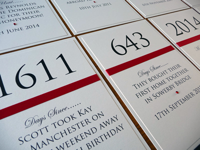 Ivory and red double mounted A6 table numbers