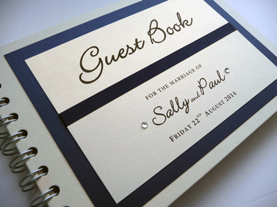Navy Wedding Guest Book with flat ribbon and diamantes
