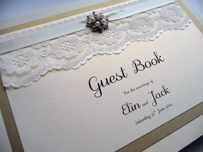 Luxury Gold wedding guest book with lace, ribbon and fancy pearl embellishment