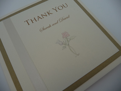Ivory and Gold triple mounted thank you cards with a rose and thistle theme