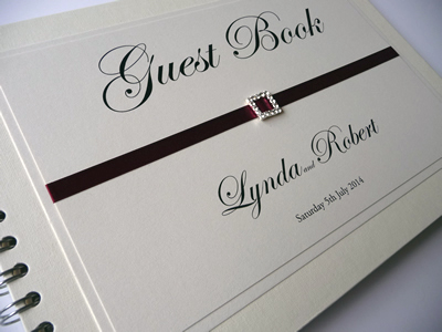 Ivory and Burgundy theme Wedding Guest Book with a square diamante buckle