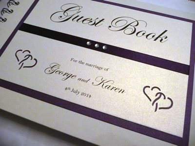 Purple Heart themed Wedding Guest Book with flat ribbon and diamantes