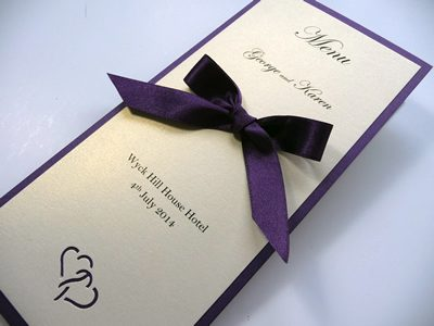 Purple and Ivory heart theme Menu with a satin ribbon bow