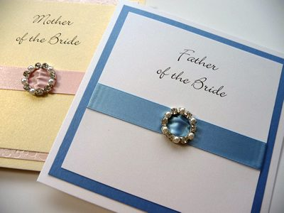 White and Blue Bridal Party thank you card with a round diamante and pearl mixed fancy buckle