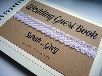 Rustic Brown Kraft themed Wedding Guest Book with lace and ribbon
