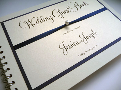 Navy and Ivory Guest Book with a pearl detail