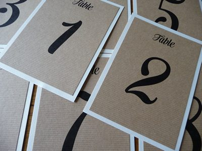 Flat table numbers simple without ribbon rustic brown kraft card