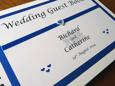 Royal Blue and Ivory Wedding Guest Book with a heart theme