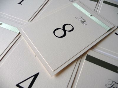 Ivory and sage green A6 table numbers with flat green ribbon