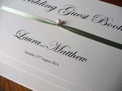 Classic Wedding Guest Book with pearl detail