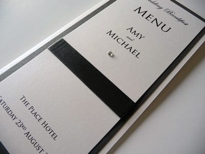Charcoal grey and ivory folded menu cards