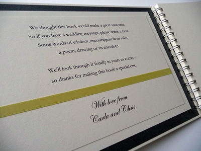 Lemon and Ivory Wedding Guest Book with Flat Ribbon