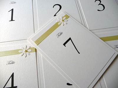 Ivory and Lemon double nted A6 table numbers with a daisy theme