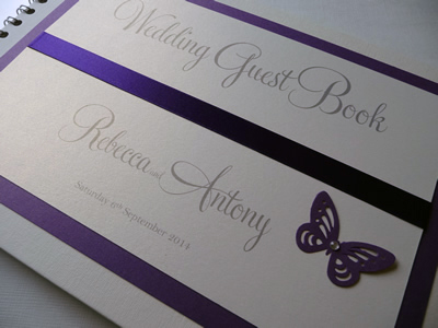 Purple Butterfly themed Wedding Guest Book