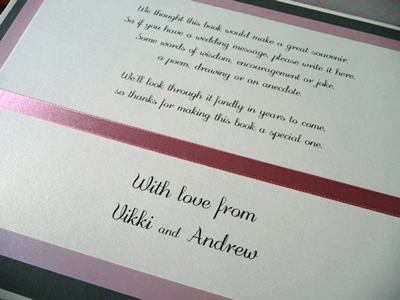 Dusky pink and Ivory Wedding Guest Book verse