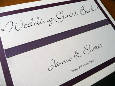 Purple Wedding Guest Book with flat ribbon