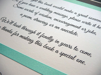 Guest Book verse with a turquoise colour scheme