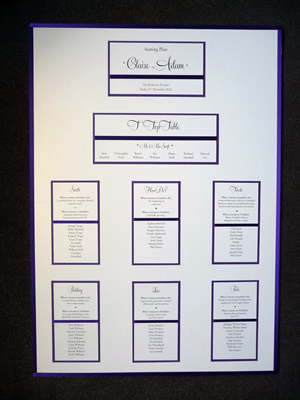 Purple and Ivory A1 Table Plan board with purple ribbon