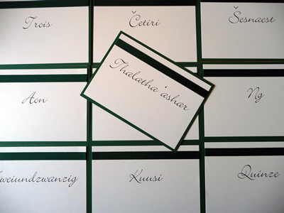 Forest Green & Ivory A5 Table Names