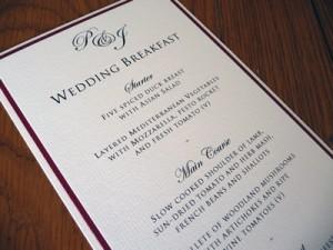 Triple layered flat menu cards without ribbon