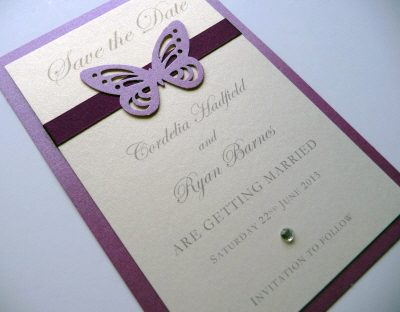 Plum butterfly themed portrait save the dates