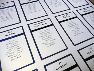 Simple Navy and Ivory Wedding Table Plan with flat satin ribbon detail