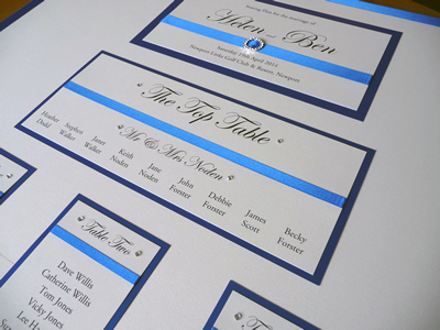 Royal Blue themed Wedding Table Plan with flat ribbon and diamante detailing