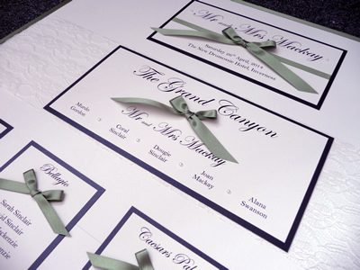 Sage Green and Black Wedding Table Plan with bows