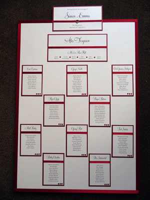 Manchester United themed table plan with a red colour scheme