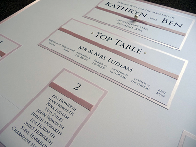 Pink and White wedding table plan with traditionally numbered guest tables
