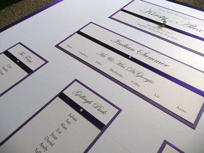 Purple and Ivory classic table plan with pearl detail