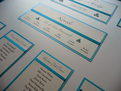 Turquoise Blue and Ivory Table Plan board