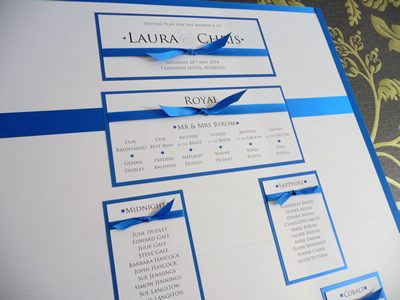 Royal Blue themed Wedding Seating Plan with knotted ribbon detail