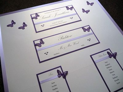 Purple Butterfly themed Wedding Table Plan with lilac satin ribbon
