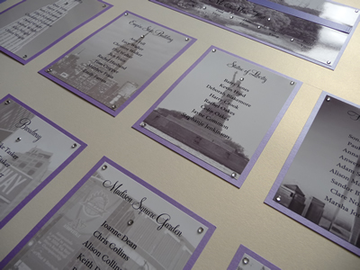 Lilac and Ivory Wedding Table Plan with a New York theme design