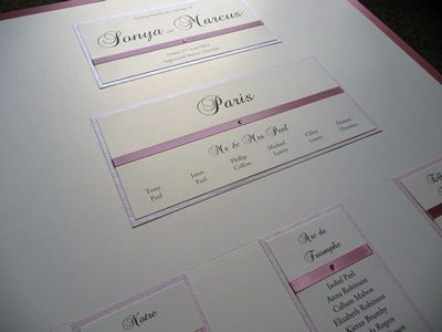 Paris themed Table Plan with an ivory and dusky pink colour scheme