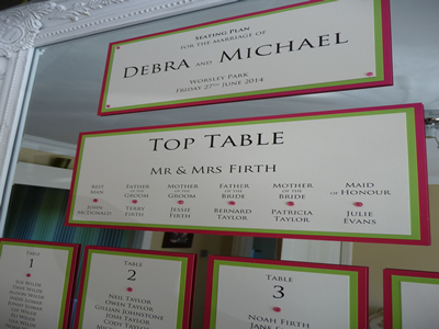 Fuchsia pink and lime green mirror table plan cards