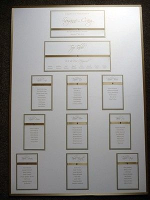 Traditional Gold and Ivory Wedding Seating Plan with satin ribbon
