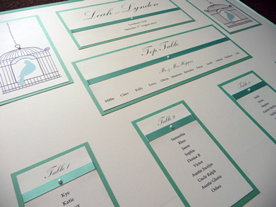 Birdcage themed Wedding Table Plan with an aqua blue colour scheme