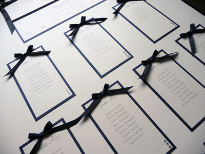 Navy and Ivory Table Plan with ribbon bows