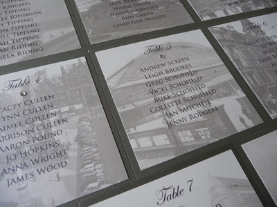 Manchester Themed Wedding Table Plan with a charcoal grey colour scheme
