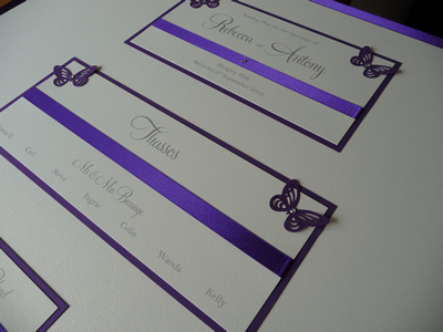 Purple and Ivory Butterfly themed Wedding Table Plan