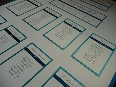 Teal Green and Ivory themed Wedding Seating Plan