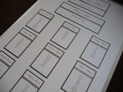 Silver themed Wedding Table Plan on an A1 board