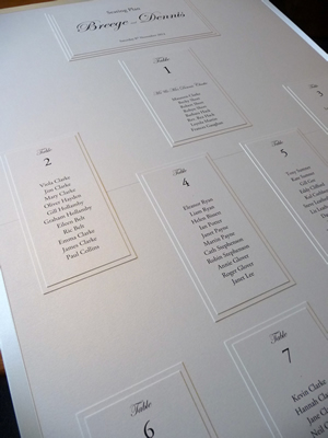 Traditional Ivory Seating Plan with numbered tables