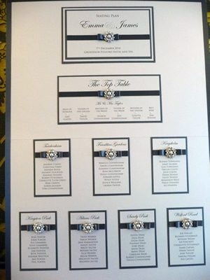 Charcoal great and ivory vintage inspired table plan with fancy pearl embellishments