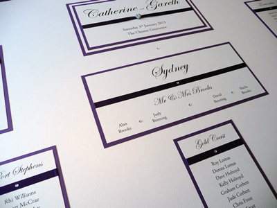 Purple and Ivory Australia themed Table Plan board