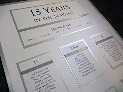 """Silver and White Table Plan Board """"15 years in the making"""""""