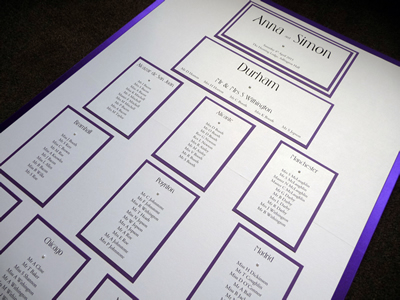 Classic A1 Table Plan board with an ivory and purple colour scheme