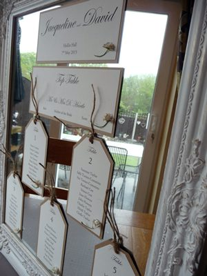 Luggage Tag themed table plan cards for a mirror